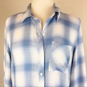 NWOT GAP Light Blue Buffalo Check Button Up Shirt